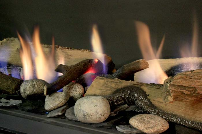 Glass, cement logs, & rocks instead of wood for Fireplace